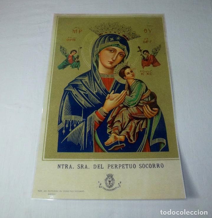LAMINA RELIGIOSA PLASTIFICADA NUESTRA SEÑORA DEL PERPETUO SOCORRO.40 X 26 CM. (Arte - Arte Religioso - Pintura Religiosa - Otros)