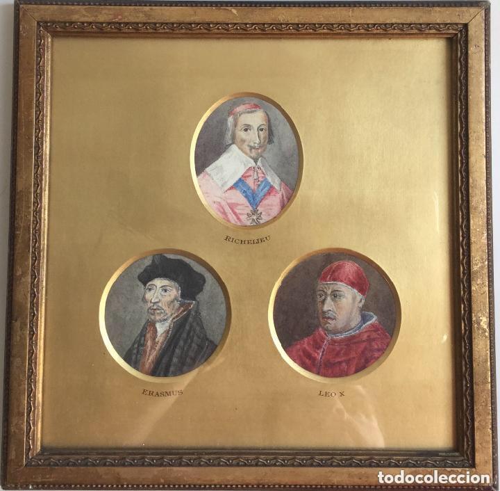 TRES ACUARELAS DE PERSONAJES ILUSTRES (RICHELIEU, ERASMUS Y LEO X) - 27X27 CM (Arte - Arte Religioso - Pintura Religiosa - Acuarela)