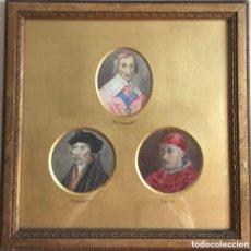 Arte: TRES ACUARELAS DE PERSONAJES ILUSTRES (RICHELIEU, ERASMUS Y LEO X) - 27X27 CM. Lote 201296372