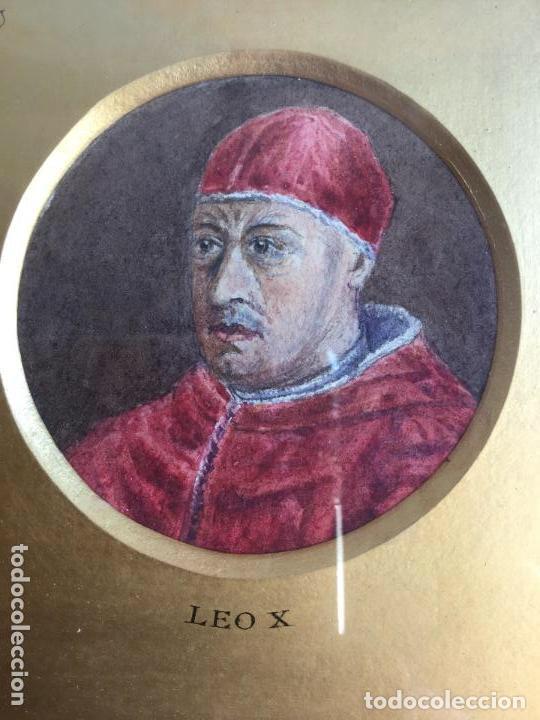 Arte: TRES ACUARELAS DE PERSONAJES ILUSTRES (RICHELIEU, ERASMUS Y LEO X) - 27x27 cm - Foto 2 - 201296372
