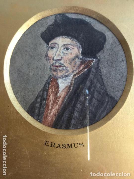 Arte: TRES ACUARELAS DE PERSONAJES ILUSTRES (RICHELIEU, ERASMUS Y LEO X) - 27x27 cm - Foto 3 - 201296372