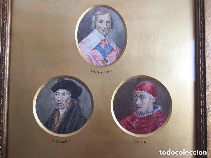 Arte: TRES ACUARELAS DE PERSONAJES ILUSTRES (RICHELIEU, ERASMUS Y LEO X) - 27x27 cm - Foto 5 - 201296372