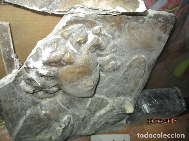 Arte: RETABLO RELIGIOSO DE ESTUCO DE YESO O ESCAYOLA ANGEL MUY PESADO CON MADERA EN REVERSO - Foto 16 - 144594262