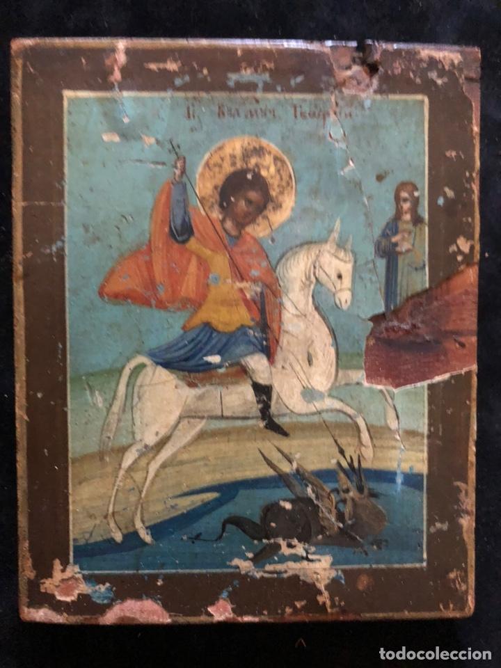 Arte: Precioso y antiguo icono de San Jorge. - Foto 2 - 201863982