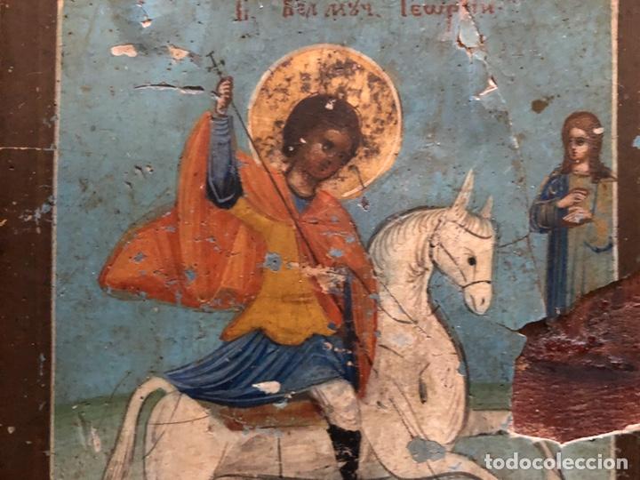 Arte: Precioso y antiguo icono de San Jorge. - Foto 4 - 201863982