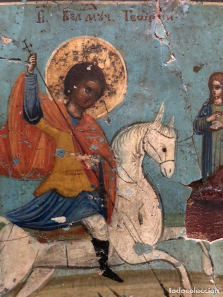 PRECIOSO Y ANTIGUO ICONO DE SAN JORGE. (Arte - Arte Religioso - Iconos)