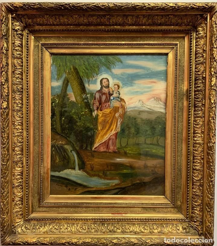 PINTURA DE SAN JOSÉ BAJO CRISTAL (Arte - Arte Religioso - Pintura Religiosa - Oleo)