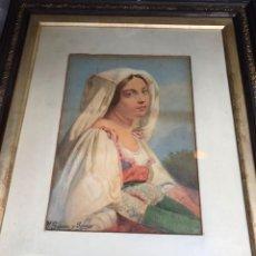 Arte: CAMPESINA ROMANA 1873 JOSE GARCIA RAMOS. LÁPIZ SOBRE PAPEL VERJURADO AMARILLENTO ORIGINAL. Lote 201324661