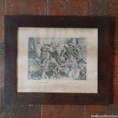 Arte: GRABADO S.XIX HUIDA A EGIPTO / MARCO Y CRISTAL DE EPOCA / 47,5CM X 40CM. Lote 202590976