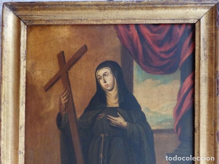 Arte: Santa Verónica Giuliani. Oleo sobre tabla del siglo XVII con marco de época. 47 x 36 cm. - Foto 4 - 118595195