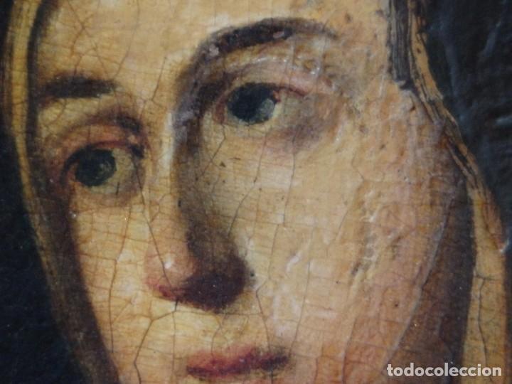 Arte: Santa Verónica Giuliani. Oleo sobre tabla del siglo XVII con marco de época. 47 x 36 cm. - Foto 10 - 118595195