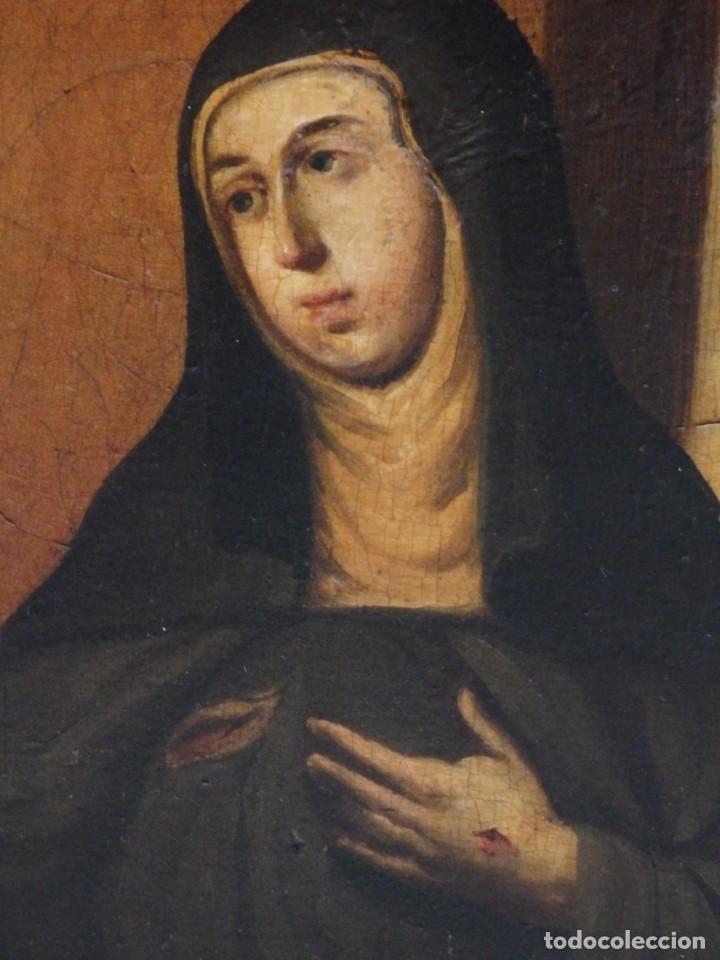 SANTA VERÓNICA GIULIANI. OLEO SOBRE TABLA DEL SIGLO XVII CON MARCO DE ÉPOCA. 47 X 36 CM. (Arte - Arte Religioso - Pintura Religiosa - Oleo)