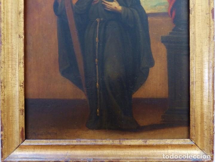 Arte: Santa Verónica Giuliani. Oleo sobre tabla del siglo XVII con marco de época. 47 x 36 cm. - Foto 17 - 118595195