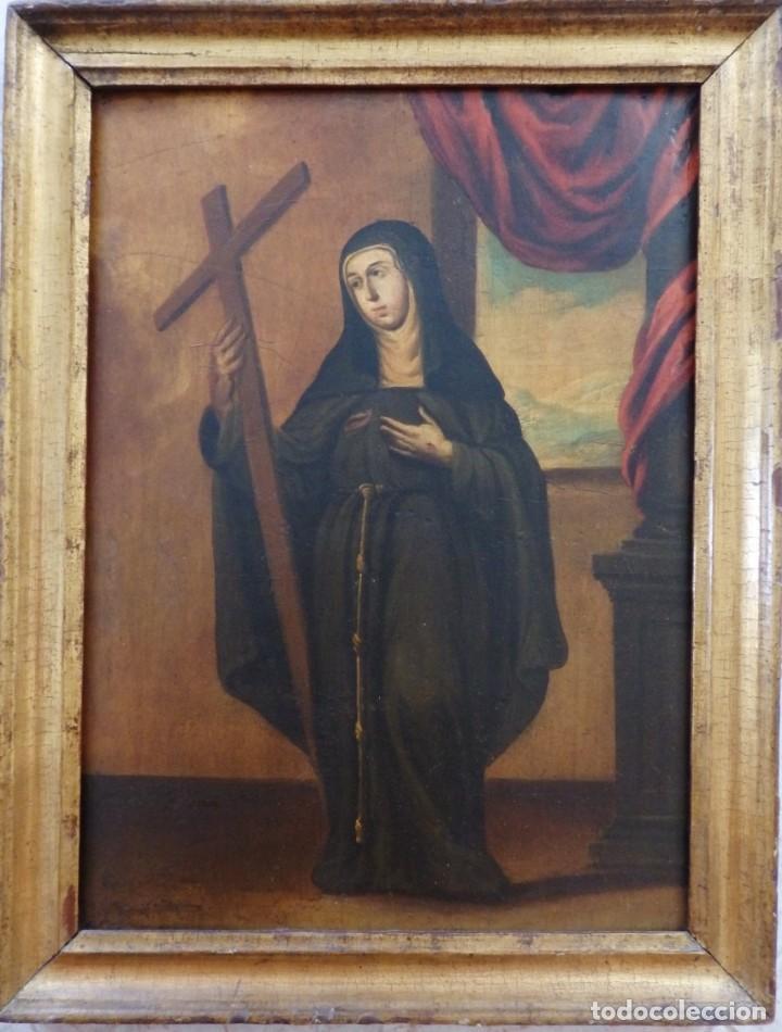 Arte: Santa Verónica Giuliani. Oleo sobre tabla del siglo XVII con marco de época. 47 x 36 cm. - Foto 2 - 118595195