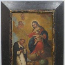 Art: LA VIRGEN ENTREGANDO EL ROSARIO A SANTO DOMINGO. OLEO S/ LIENZO. SIGLO XVII-XVIII. ESC. ESPAÑOLA. Lote 202854811