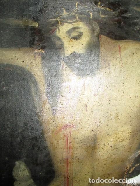 Arte: PINTURA RELIGIOSA ANTIGUA cristo oleo ESCUELA CASTELLANA NECESITA RESTAURACION - Foto 8 - 202860090