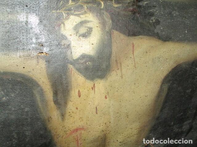 Arte: PINTURA RELIGIOSA ANTIGUA cristo oleo ESCUELA CASTELLANA NECESITA RESTAURACION - Foto 10 - 202860090