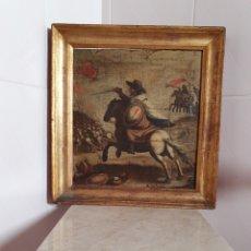 Arte: EXTRAORDINARIO OLEO SOBRE LIENZO S.XVIII DEL APÓSTOL SANTIAGO LUCHANDO EN LA BATALLA DE CLAVIJO. Lote 202896191