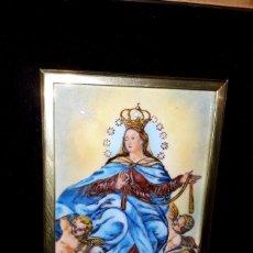Arte: ANTIGUA IMAGEN ESMALTADA VIRGEN DE LA CINTA TORTOSA FIRMADO POR E. CASTELLO ENMARCADO DE CALIDAD. Lote 202905670