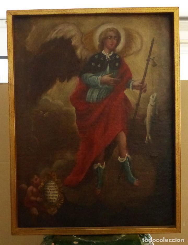 Arte: ARCANGEL SAN RAFAEL - SIGLO XVIII - CUSTODIO DE CORDOBA - 55 X 39 CM. - Foto 17 - 203218290