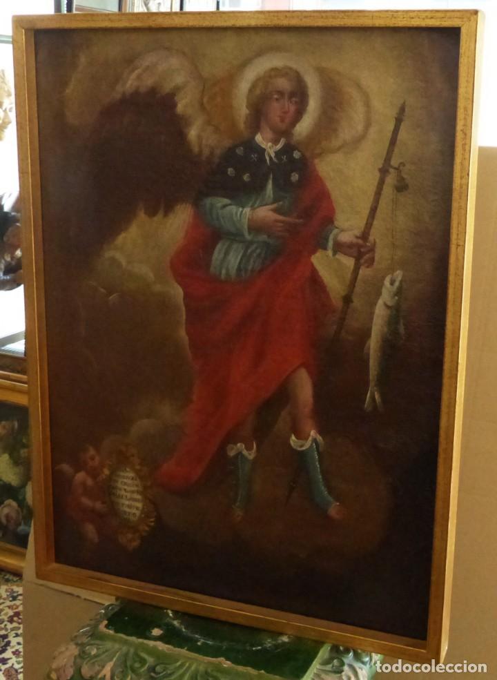 ARCANGEL SAN RAFAEL - SIGLO XVIII - CUSTODIO DE CORDOBA - 55 X 39 CM. (Arte - Arte Religioso - Pintura Religiosa - Oleo)