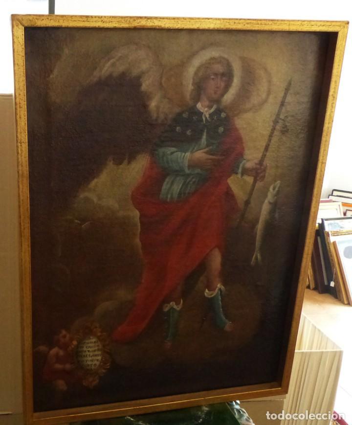 Arte: ARCANGEL SAN RAFAEL - SIGLO XVIII - CUSTODIO DE CORDOBA - 55 X 39 CM. - Foto 4 - 203218290