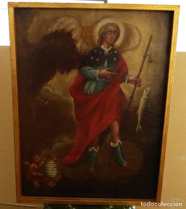 Arte: ARCANGEL SAN RAFAEL - SIGLO XVIII - CUSTODIO DE CORDOBA - 55 X 39 CM. - Foto 5 - 203218290