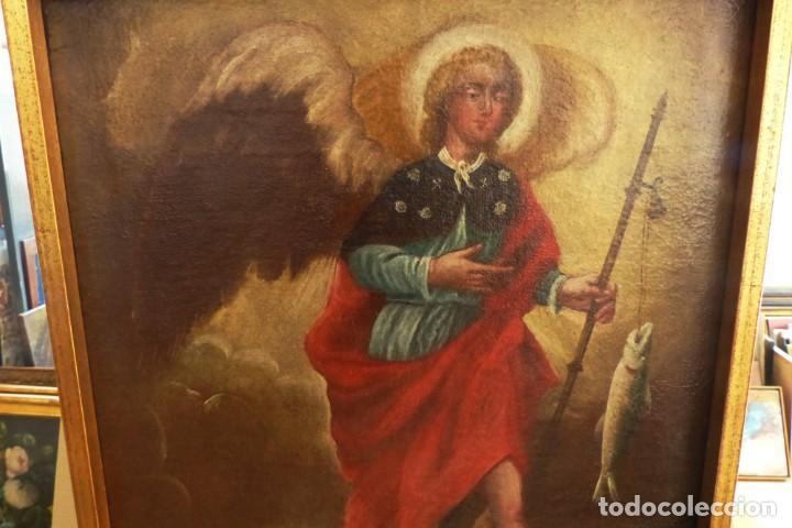 Arte: ARCANGEL SAN RAFAEL - SIGLO XVIII - CUSTODIO DE CORDOBA - 55 X 39 CM. - Foto 6 - 203218290