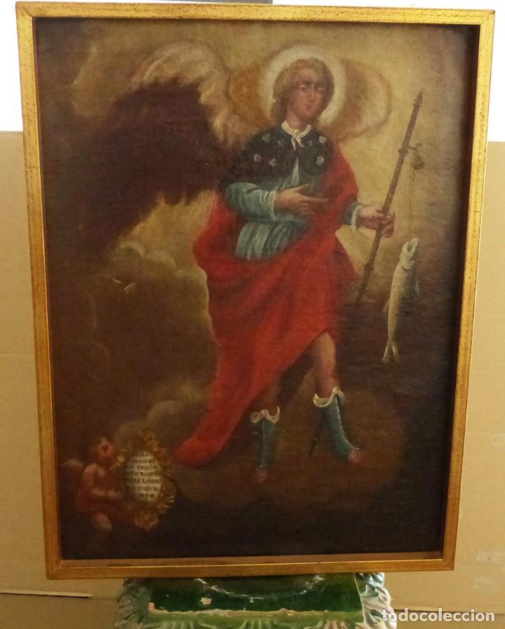 Arte: ARCANGEL SAN RAFAEL - SIGLO XVIII - CUSTODIO DE CORDOBA - 55 X 39 CM. - Foto 10 - 203218290