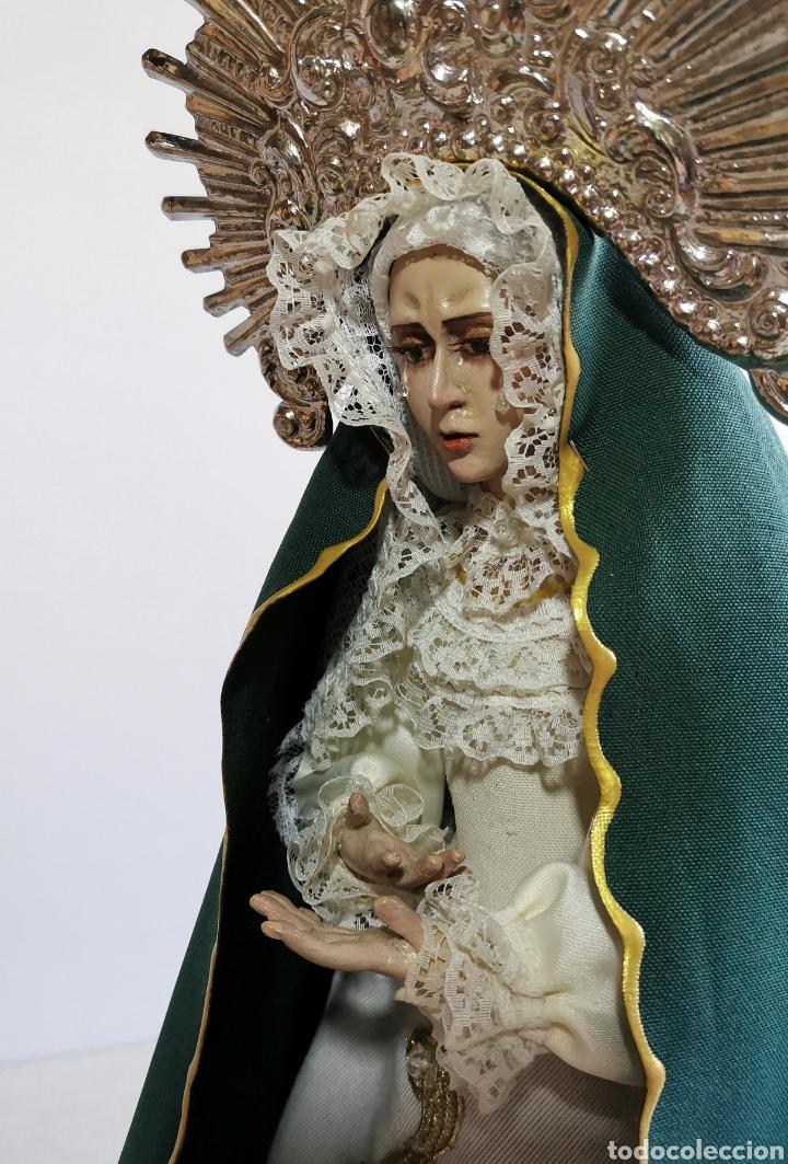 IMPRESIONANTE ANTIGUA VIRGEN DE MADERA POLICROMADA ARTICULADA. DOLOROSA DE CANDELERO PARA VESTIR. (Arte - Arte Religioso - Escultura)
