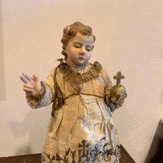Arte: NIÑO JESÚS BARRIGÓN CON PENE DEL XVIII, PRESENTA REPINTES, TALLA DE MADERA. Lote 203780798