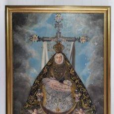 Arte: MAGNÍFICO ANTIGUO CUADRO ÓLEO VIRGEN DE LAS ANGUSTIAS. 98X76 CM. PECULIAR CRISTO TAPADO CON SÁBANA.. Lote 203797806