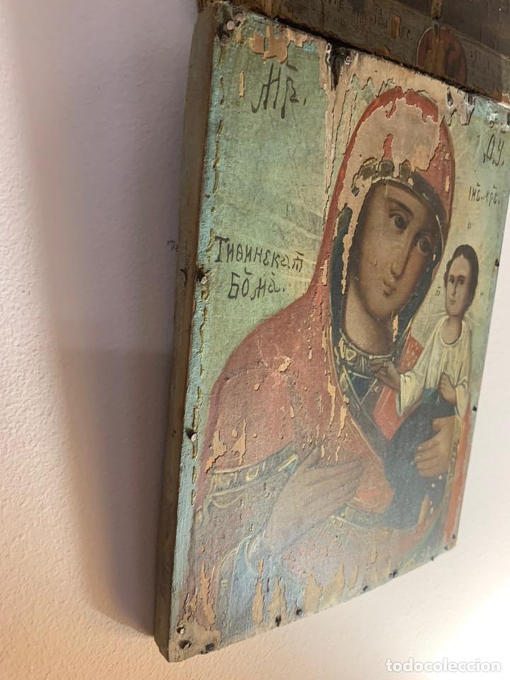 Arte: Precioso y antiguo icono ruso original de madera al óleo / temple. Represent a la virgen con el niño - Foto 2 - 203806270