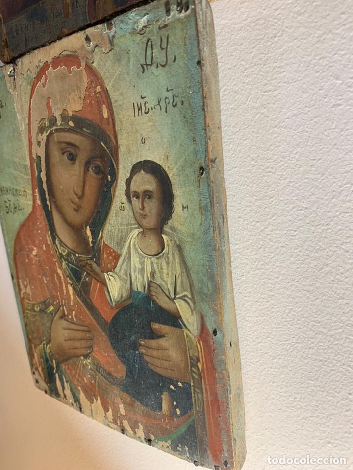 Arte: Precioso y antiguo icono ruso original de madera al óleo / temple. Represent a la virgen con el niño - Foto 3 - 203806270