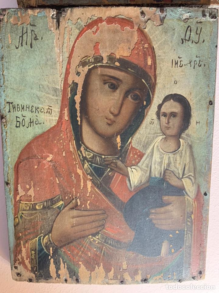 PRECIOSO Y ANTIGUO ICONO RUSO ORIGINAL DE MADERA AL ÓLEO / TEMPLE. REPRESENT A LA VIRGEN CON EL NIÑO (Arte - Arte Religioso - Iconos)