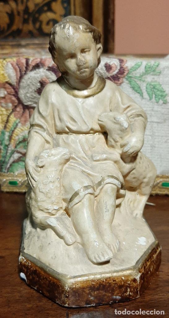NIÑO JESÚS 'EL BUEN PASTOR' DE OLOT, S. XIX. SELLO IDENTIFICATIVO. (Arte - Arte Religioso - Escultura)