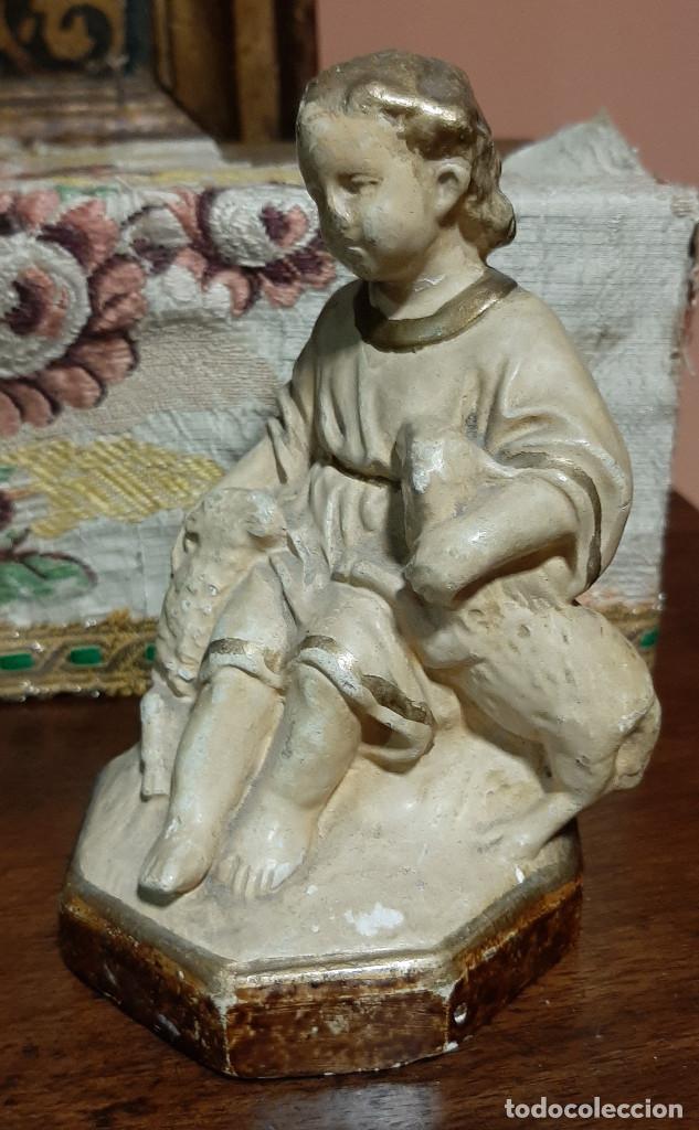 Arte: Niño Jesús El Buen Pastor de Olot, s. XIX. Sello identificativo. - Foto 2 - 203954771