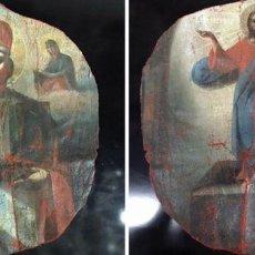 Arte: ICONO, LA RESURRECCIÓN DE CRISTO Y SAN NICOLÁS. EN DOBLE VISTA (1) - ÓLEO SOBRE LIENZO - 1900. Lote 203955518