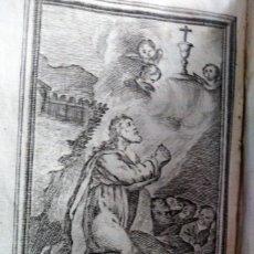Arte: GRABADO RELIGIOSO 1768 LA ORACION DE EL HIERRRO 8 POR 16 CM. Lote 203986966