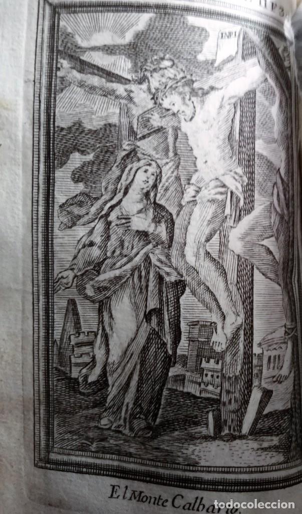 GRABADO RELIGIOSO 1768 EL MONTE CALVARIO CRISTO JESUS CRUZIFICADO 8 POR 16 CM (Arte - Arte Religioso - Grabados)