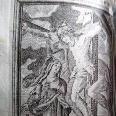 Arte: GRABADO RELIGIOSO 1768 EL MONTE CALVARIO CRISTO JESUS CRUZIFICADO 8 POR 16 CM. Lote 203988300