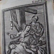 Arte: GRABADO RELIGIOSO 1768 EL DESCENDIMIENTO DELA CRUZ 8 POR 16 CM. Lote 203988938