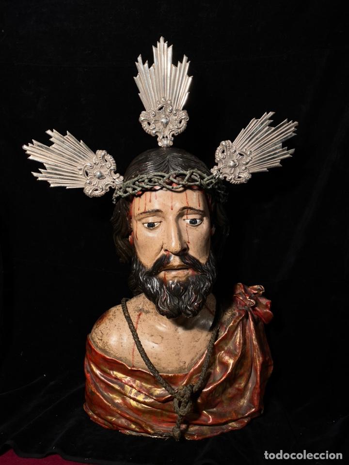 BUSTO DE TAMAÑO NATURAL TALLA MADERA EN CEDRO Y TELAS ENCOLADAS ESTOFADASEN ORO. (Arte - Arte Religioso - Escultura)