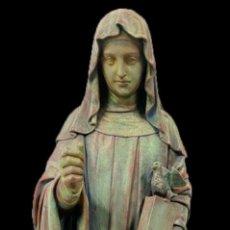 Arte: ANTIGUA SANTA ESCOLÁSTICA DE NURSIA DE ESTUCO ANTIGUO.SIGLO XIX.85 CM,MAISON RAFFL (PARIS,1857-1920). Lote 195636518