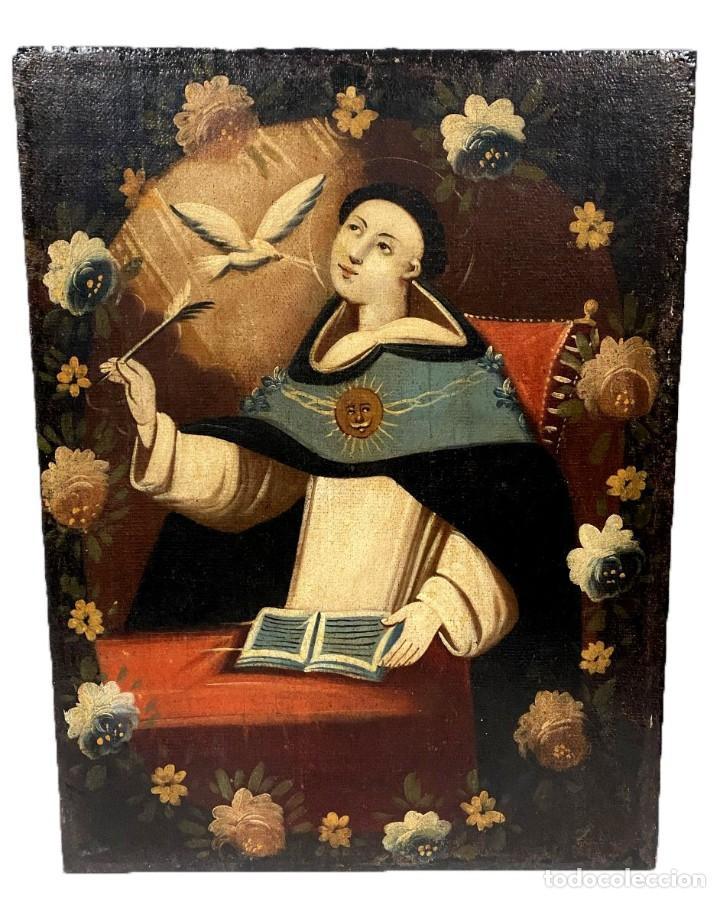 SOBERBIO SANTO TOMÁS DE AQUINO, ÓLEO SOBRE LIENZO. SIGLO XVII. 97X73 (Arte - Arte Religioso - Pintura Religiosa - Oleo)
