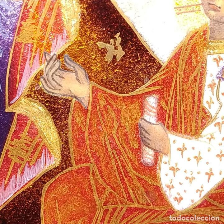 Arte: ICONO. VIRGEN CON NIÑO. ESMALTE TRASLÚCIDO. PLATA. CIRCULO DE MORATÓ. ESPAÑA. CIRCA 1950 - Foto 9 - 204268168