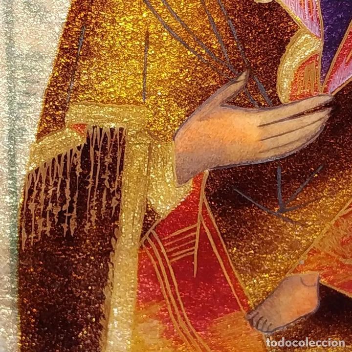 Arte: ICONO. VIRGEN CON NIÑO. ESMALTE TRASLÚCIDO. PLATA. CIRCULO DE MORATÓ. ESPAÑA. CIRCA 1950 - Foto 12 - 204268168