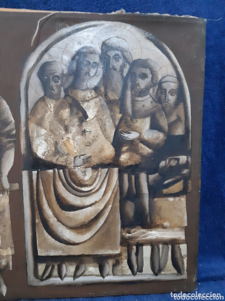 Arte: Obra de arte religioso, óleo sobre lienzo, firmada, autentificada y datada - Foto 4 - 204323416