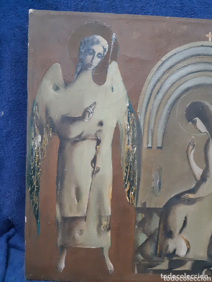 Arte: Obra de arte religioso, óleo sobre lienzo, firmada, autentificada y datada - Foto 2 - 204324162