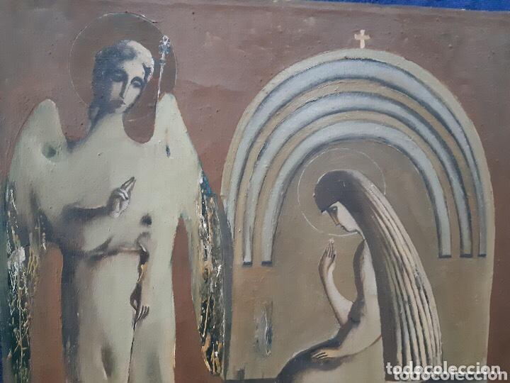 Arte: Obra de arte religioso, óleo sobre lienzo, firmada, autentificada y datada - Foto 5 - 204324162
